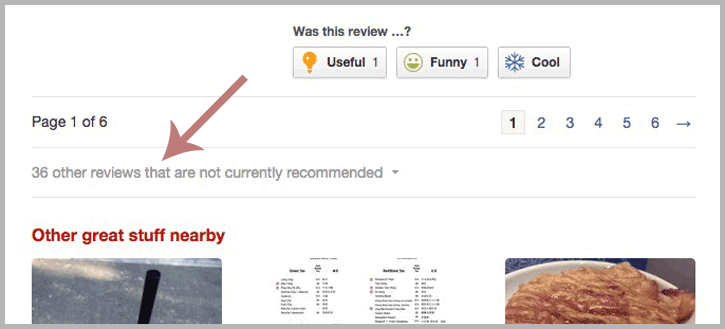 Filtered Yelp reviews - now called not recommended