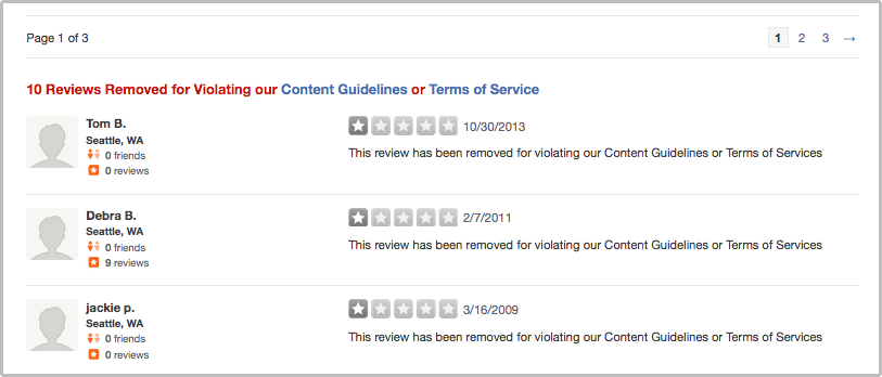 Reviews Removed for Violating our Content Guidelines or Terms of Service