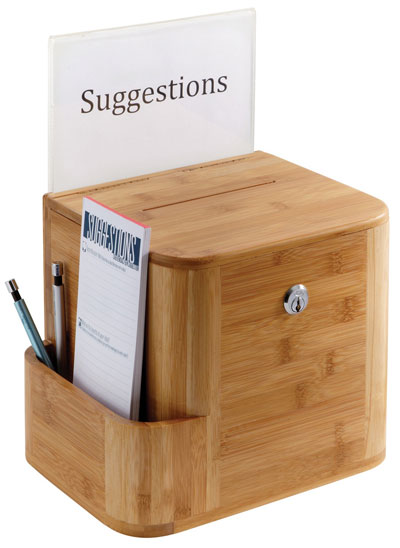 comment card box, suggestion box