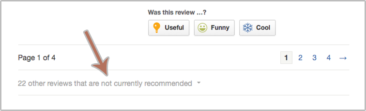 Yelp's not currently recommended reviews