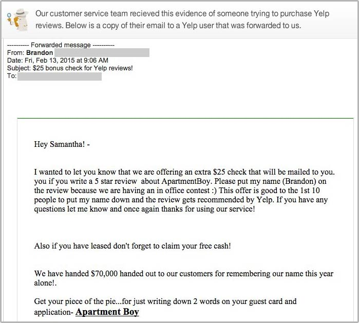 Business paying for fake Yelp review