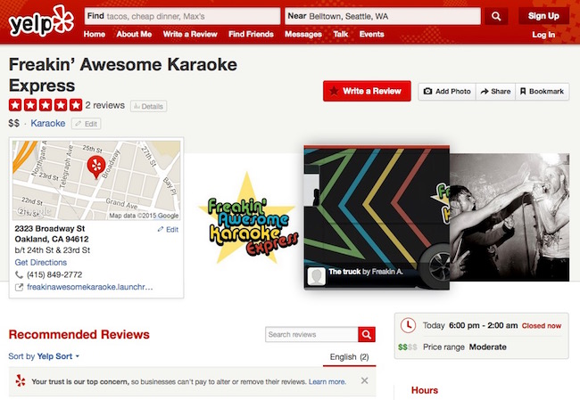 Yelp review page for Freakin' Awesome Karaoke Express