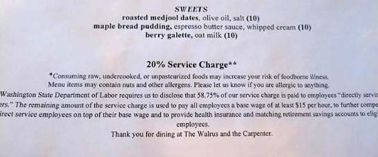 service charge on menu at the Walrus and the Carpenter