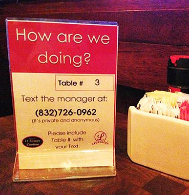 TalkToTheManager table sign at Laurenzo's El Tiempo Cantina