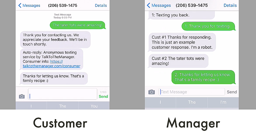 texting management using TalkToTheManager