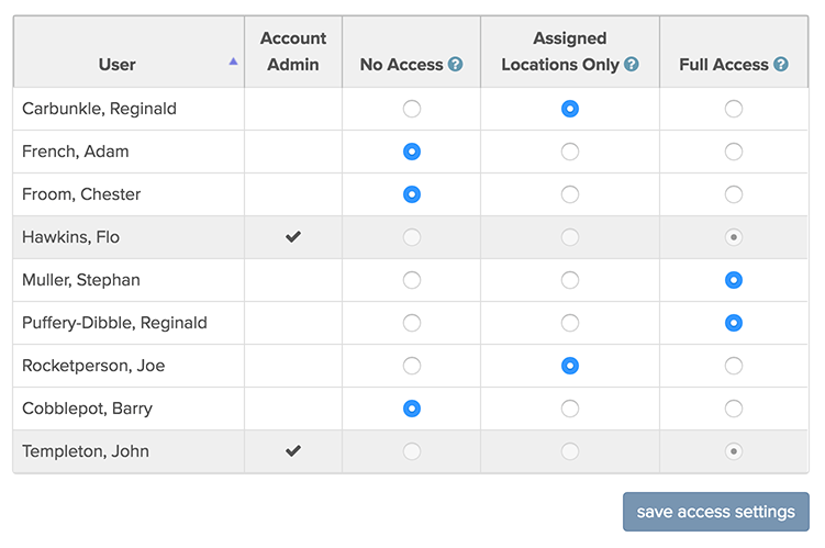 reports access user interface