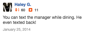 TalkToTheManager in a Yelp review