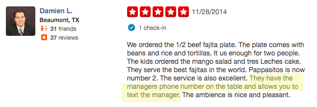 TalkToTheManager mentioned in a Yelp review