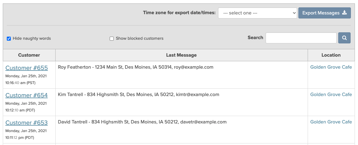 Using the TalkToTheManager dashboard for contact tracing